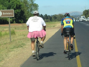Piet van Heerde in his pink tutu cycling along the Bottelary road