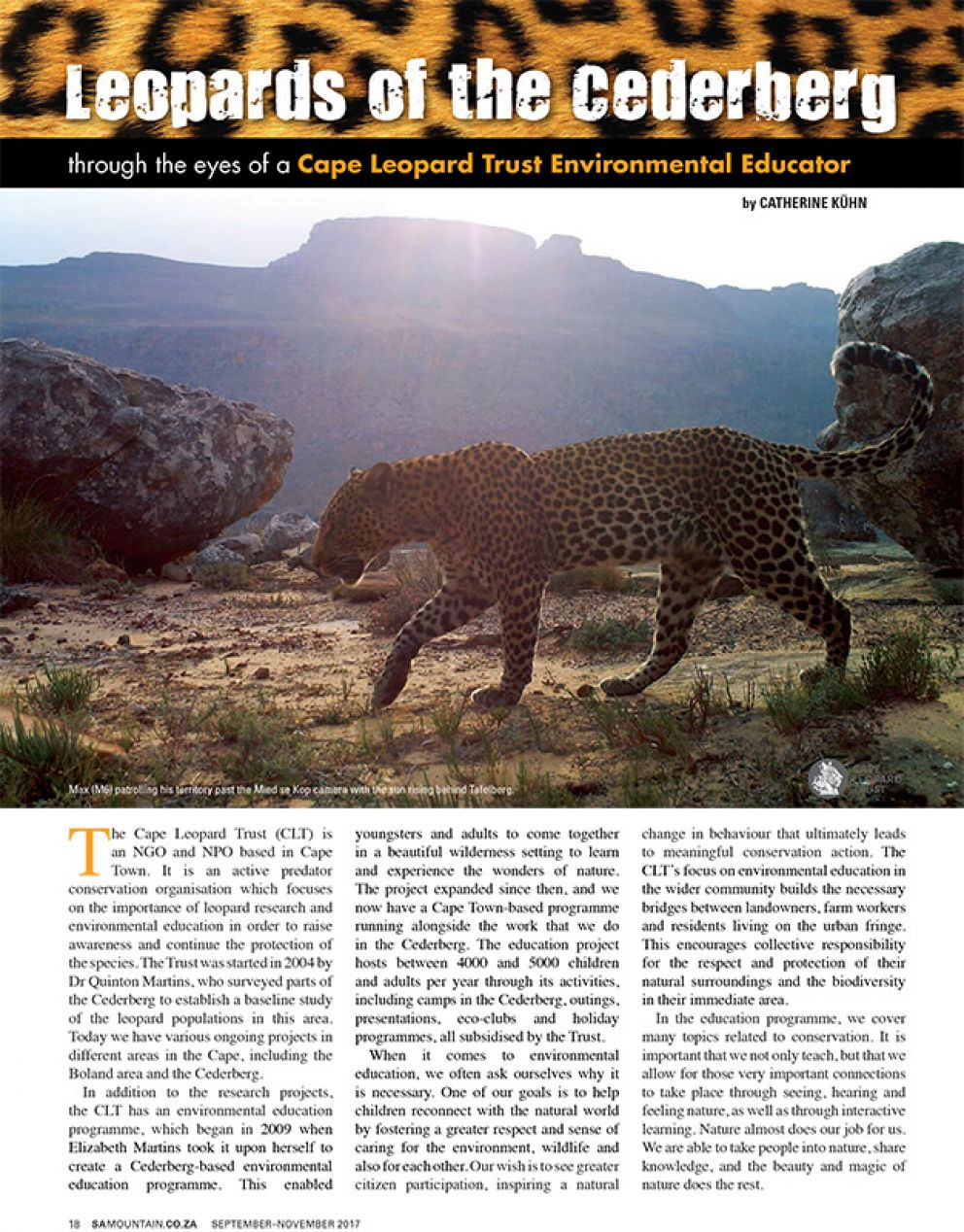 Leopards of the Cederberg through the eyes of a Cape Leopard Trust Environmental Educator