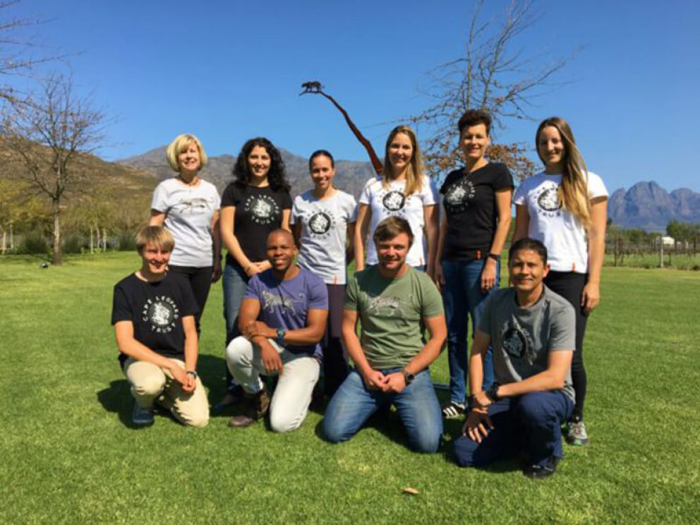 The Cape Leopard Trust team show off their new t-shirts at Leopard's Leap Family Vineyards.
